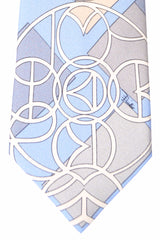 Emilio Pucci Silk Tie Blue Gray Cream Geometric