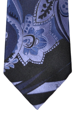 Emilio Pucci Silk Tie Black Lilac Midnight Blue Floral