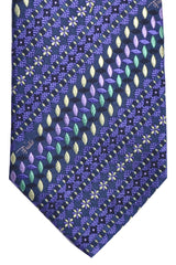 Emilio Pucci Tie Purple Mint Cream Geometric Signature Print