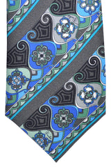 Emilio Pucci Tie Gray Aqua Green Stripes Signature Print