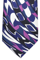 Emilio Pucci Tie Purple White Black Swirl Signature Print