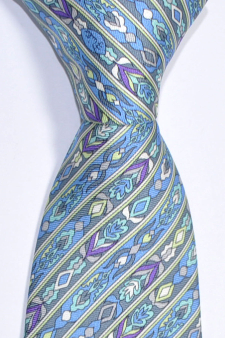 Emilio Pucci Tie Gray Blue Mint Purple Stripes Signature Print