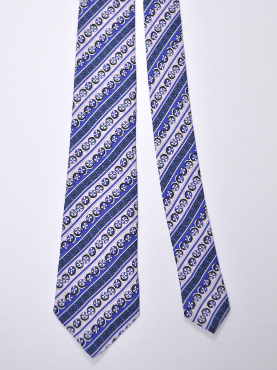 Emilio Pucci Silk Tie Purple Pink Navy Stripes