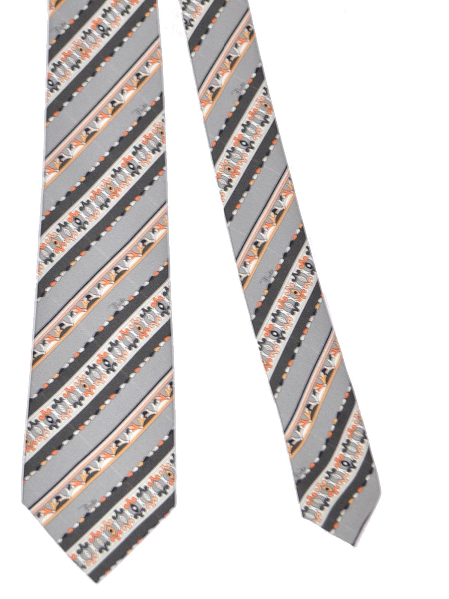 Emilio Pucci Silk Tie Gray Orange Stripes