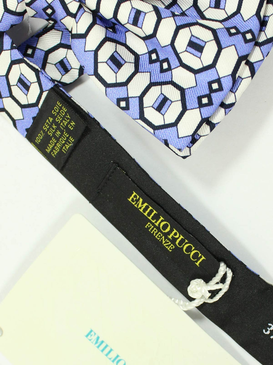 Emilio Pucci Silk Bow Tie White Black Purple