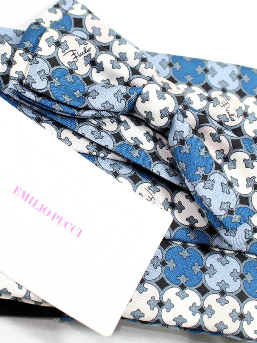 Emilio Pucci Cummerbund  Bow Tie Set Blue White Design
