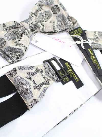 Emilio Pucci Cummerbund & Bow Tie Set Taupe Black New
