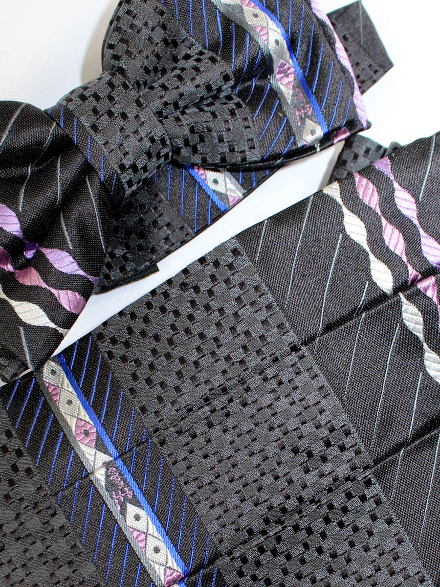 Emilio Pucci Cummerbund & Bow Tie Set Black Pink Design SALE