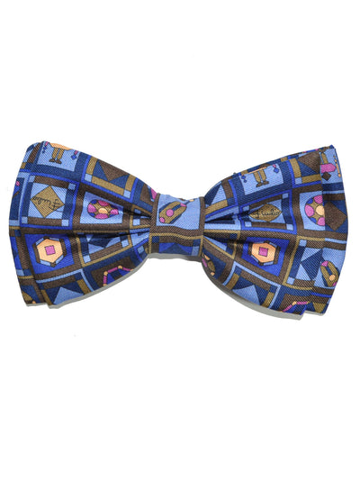 Emilio Pucci  Bow Tie Set Navy Brown Peach Fuchsia