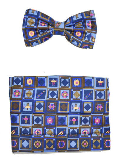 Emilio Pucci Cummerbund  Bow Tie Set Navy Brown