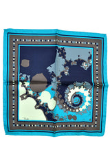Emilio Pucci Pocket Square Turquoise Taupe Gray