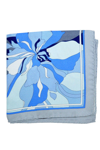 Emilio Pucci Pocket Square Blue Gray Floral
