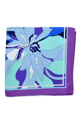 Emilio Pucci Pocket Square Purple Navy Blue Floral