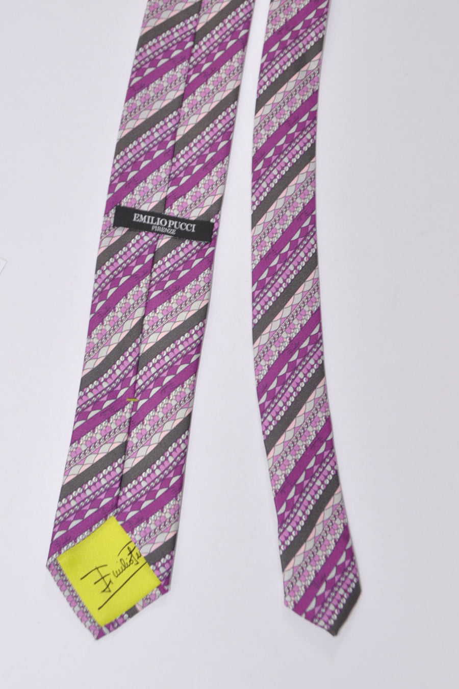 Emilio Pucci Skinny Tie Pink Purple Stripes