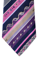 Emilio Pucci Silk Tie Pink Purple Taupe Stripes