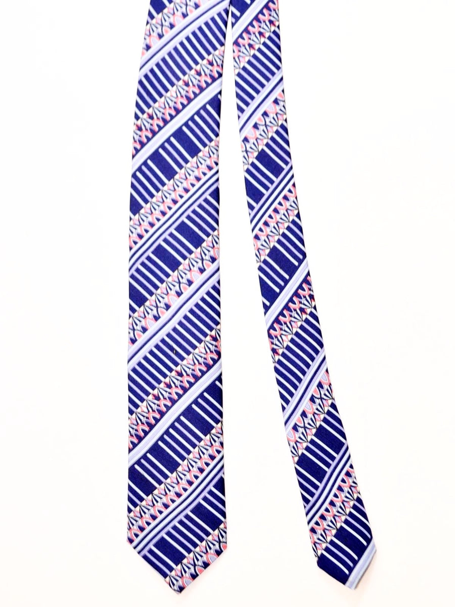 Emilio Pucci Skinny Tie Navy Pink Stripes