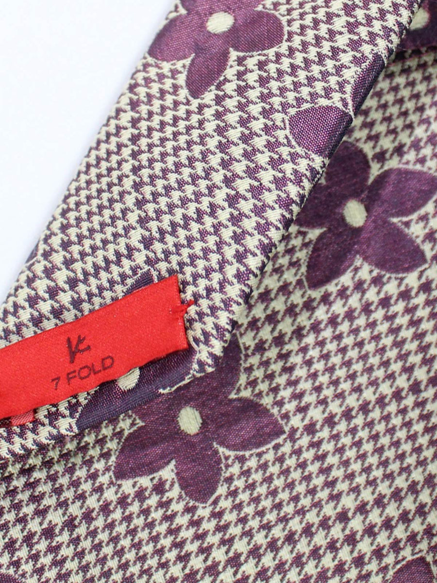 Isaia Tie Purple Silver Floral Silk Cotton Sevenfold Tie
