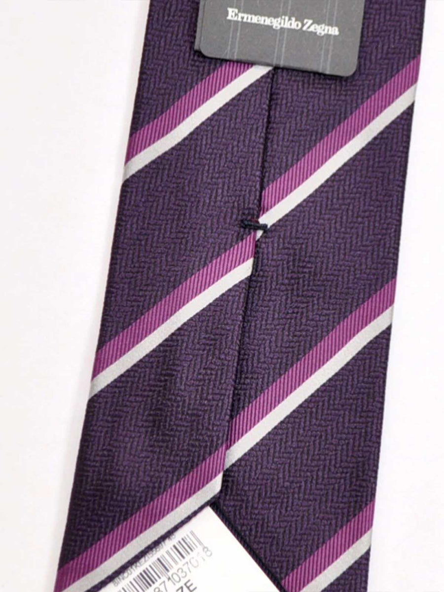 Ermenegildo Zegna Silk Tie Purple Stripes Design SALE