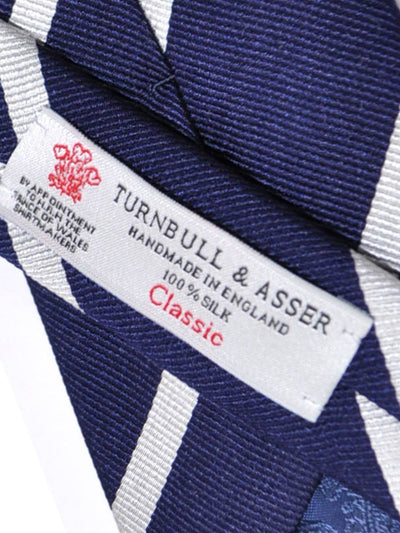 Turnbull & Asser Silk Tie Navy Silver Repp Stripes