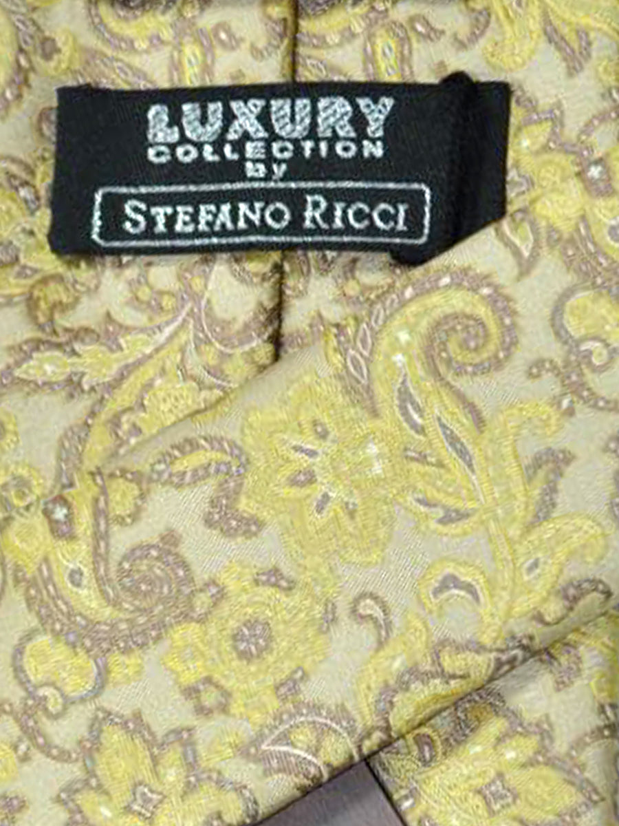 Stefano Ricci Tie Cream Gold Ornamental Design