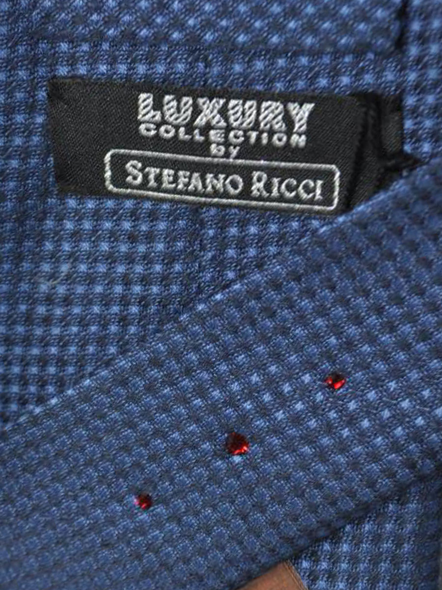 Stefano Ricci Tie Midnight Blue Geometric Design