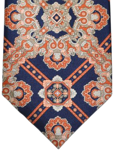 Stefano Ricci Tie Dark Navy Orange Taupe Medallion Design