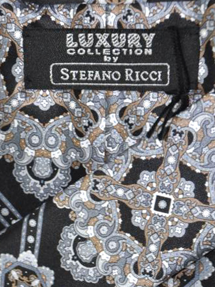Stefano Ricci Tie Black Silver Gray Medallion Design