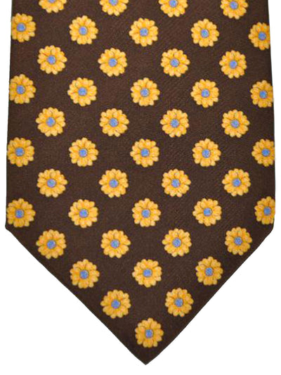 Stefano Ricci Tie Brown Yellow Floral Design