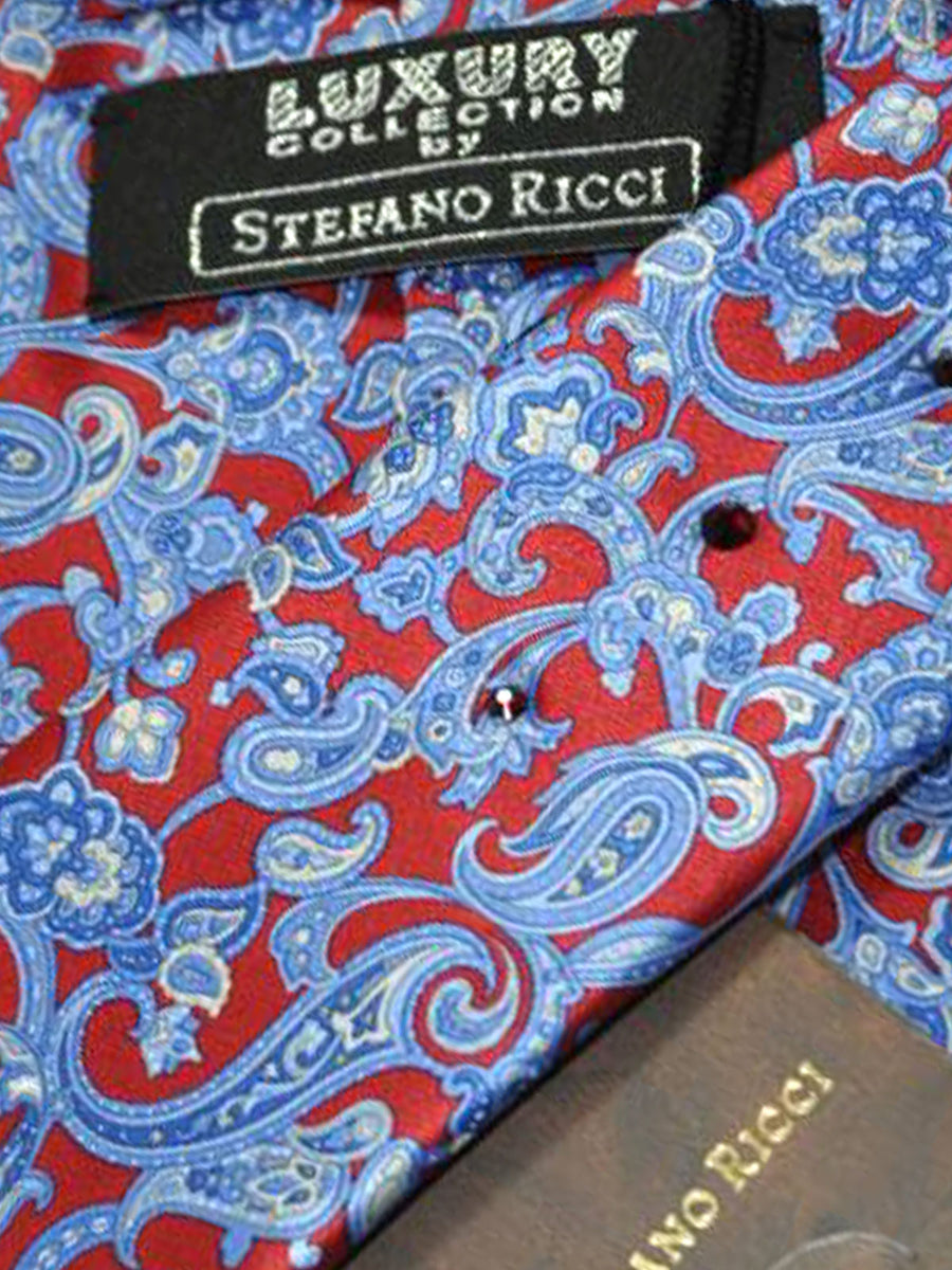 Stefano Ricci Tie Red Blue Ornamental Design