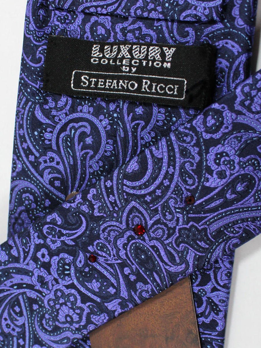 Stefano Ricci Tie Black Purple Ornamental - Wide Necktie