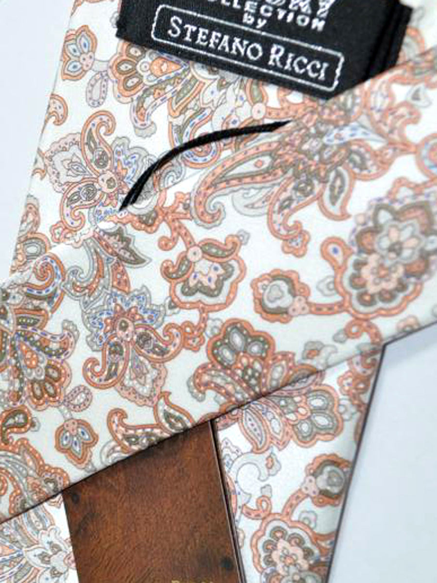 Stefano Ricci Tie White Dust Pink Taupe Ornamental Design