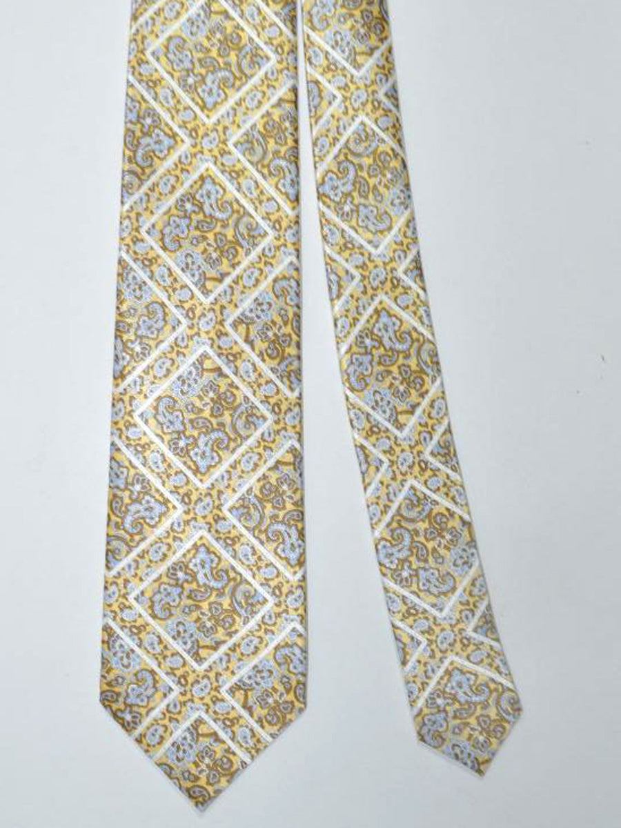 Stefano Ricci Tie Yellow Taupe Blue Paisley
