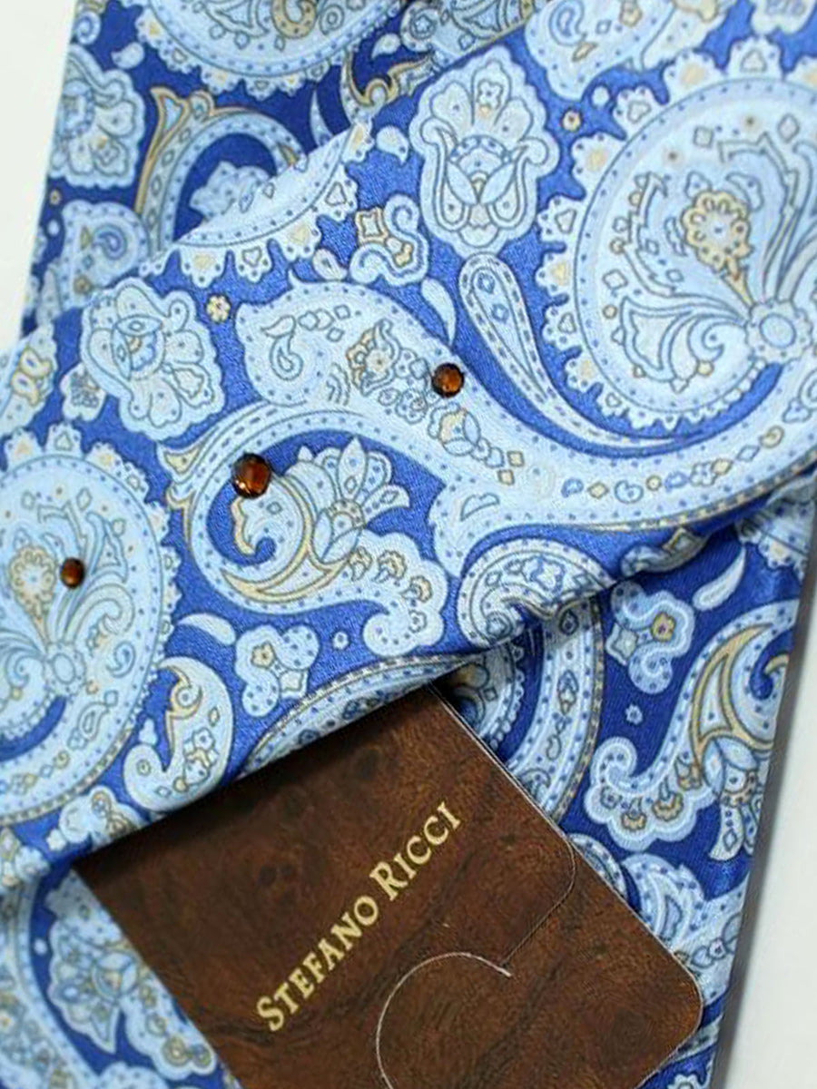 Stefano Ricci Silk Tie Royal Blue Sky Blue Ornamental Design