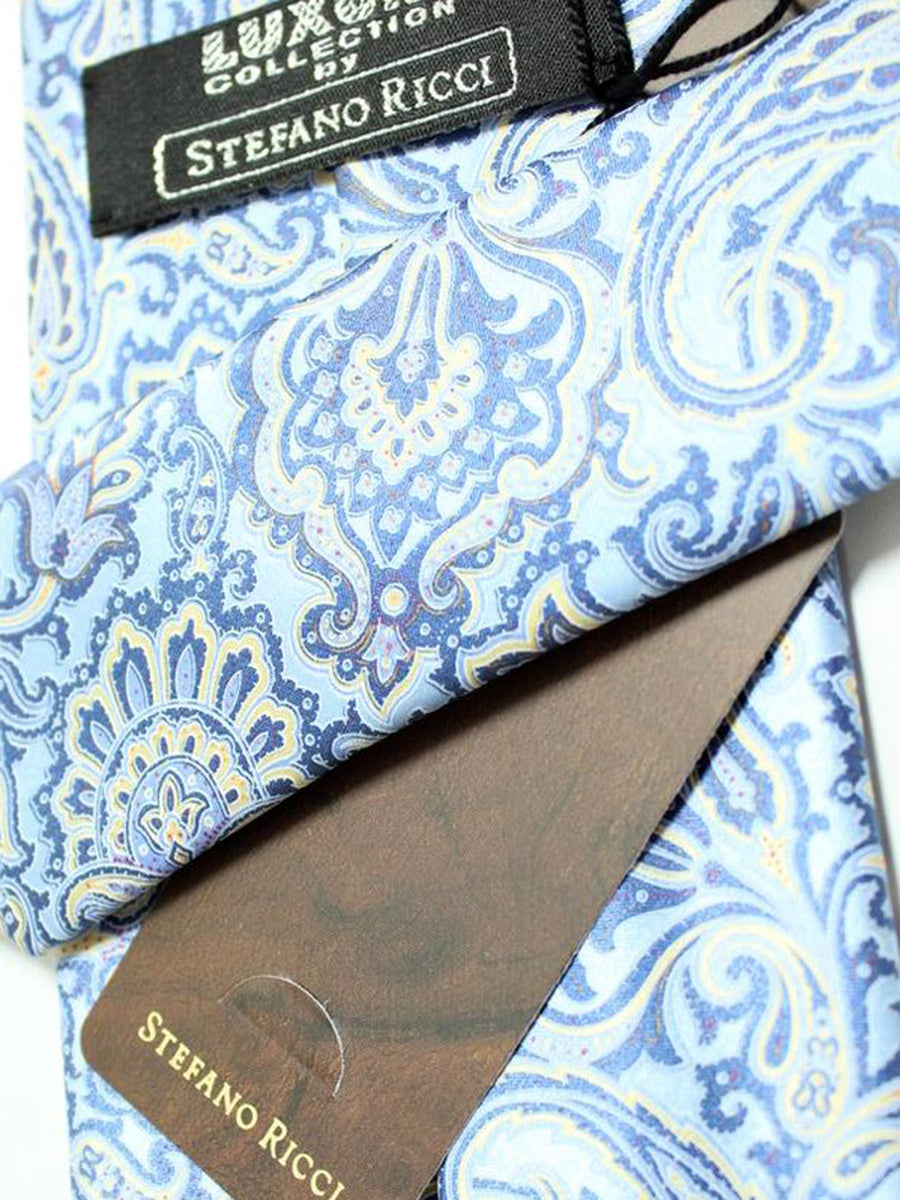 Stefano Ricci Tie Sky Blue Ornamental Design