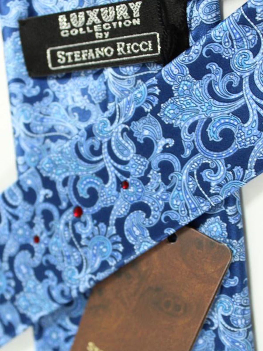 Stefano Ricci Tie Navy Blue Ornamental - Wide Necktie