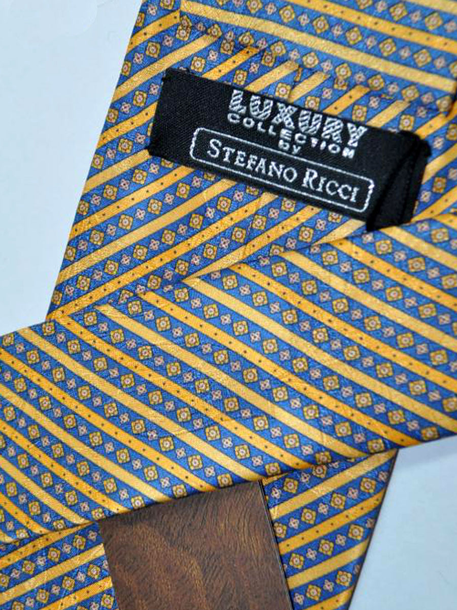 Stefano Ricci Tie Dark Blue Orange Geometric Stripes Design