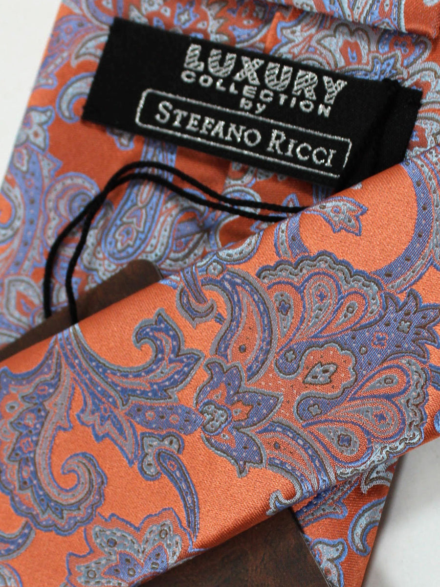 Stefano Ricci Tie Peach Gray Blue Ornamental - Wide Necktie