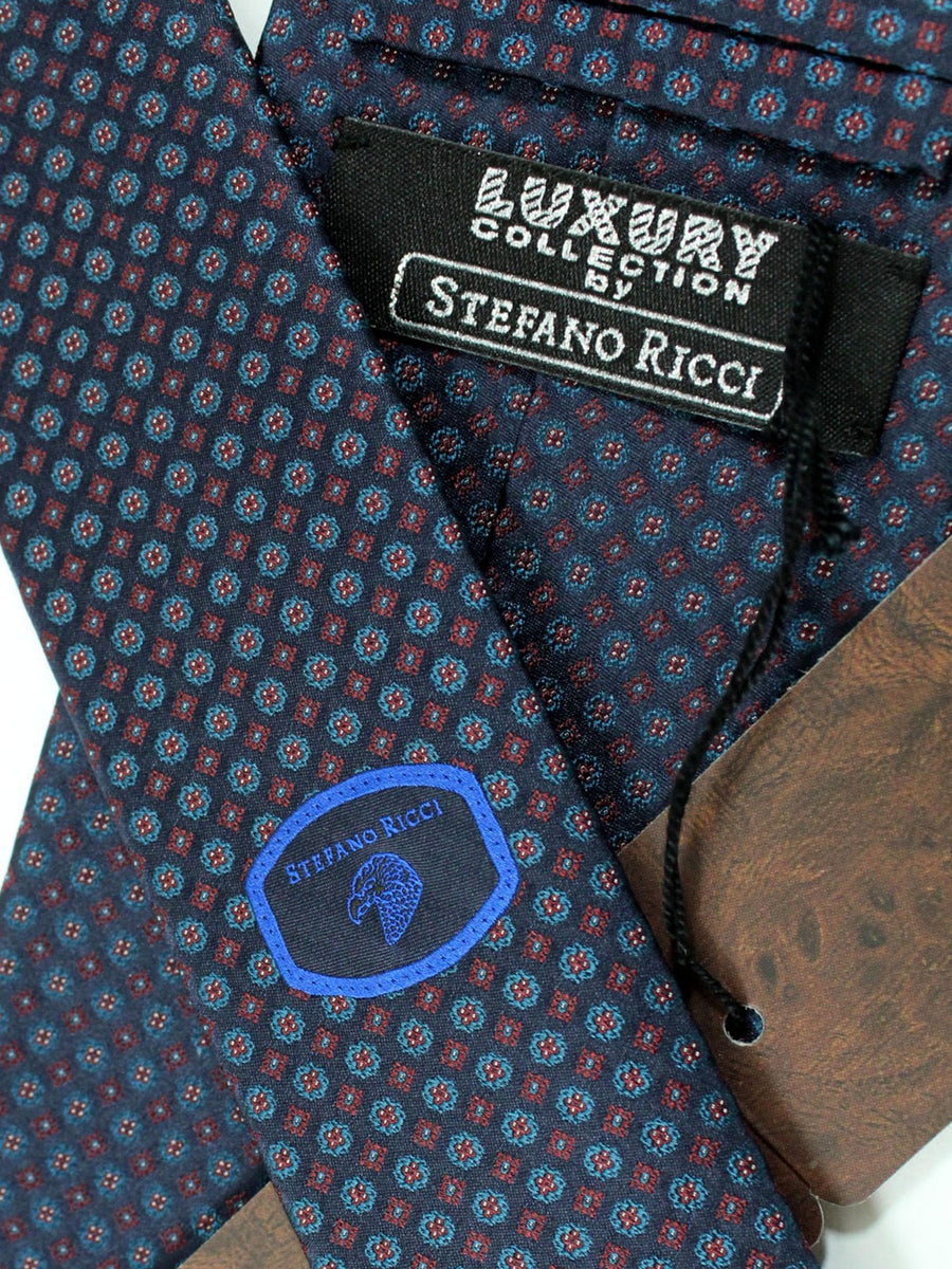 Stefano Ricci Tie Dark Gray Burgundy Dark Blue Geometric - Wide Necktie