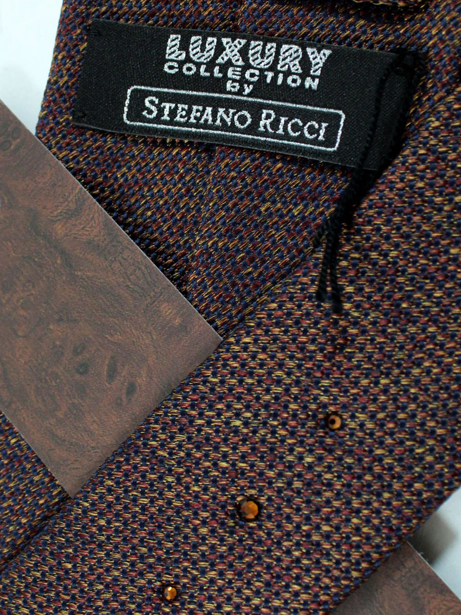 Stefano Ricci Tie Brown Black Knitted - Wide Necktie