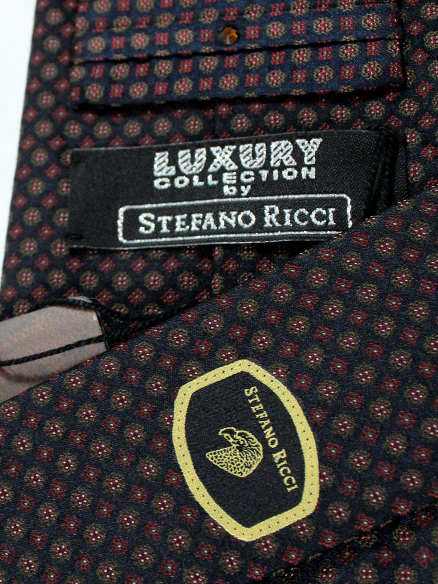 Stefano Ricci Tie Black Maroon Brown Geometric - Wide Necktie