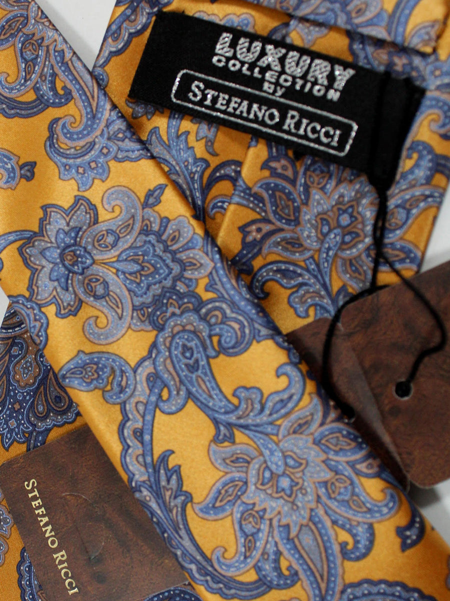 Stefano Ricci Tie Orange Blue Ornamental - Wide Necktie
