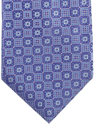 Stefano Ricci Tie Purple Sky Blue Geometric - Wide Necktie