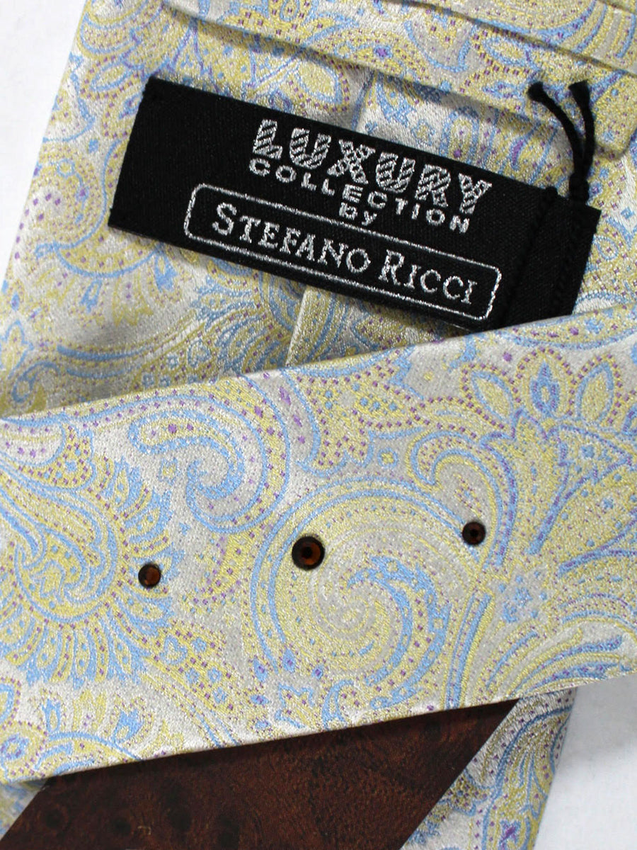 Stefano Ricci Tie Silver Yellow Blue Ornamental - Wide Necktie