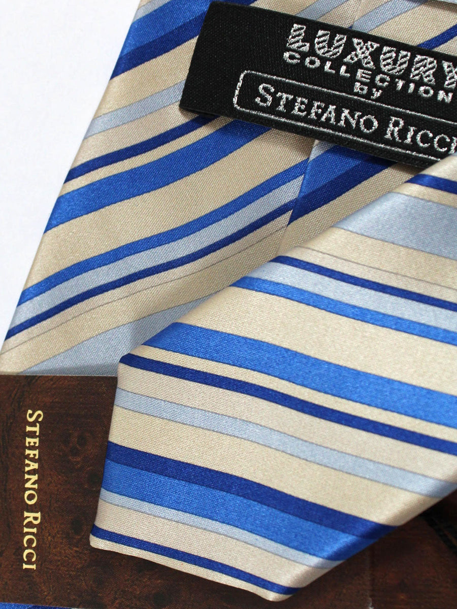 Stefano Ricci Tie Cream Royal Stripes - Wide Necktie