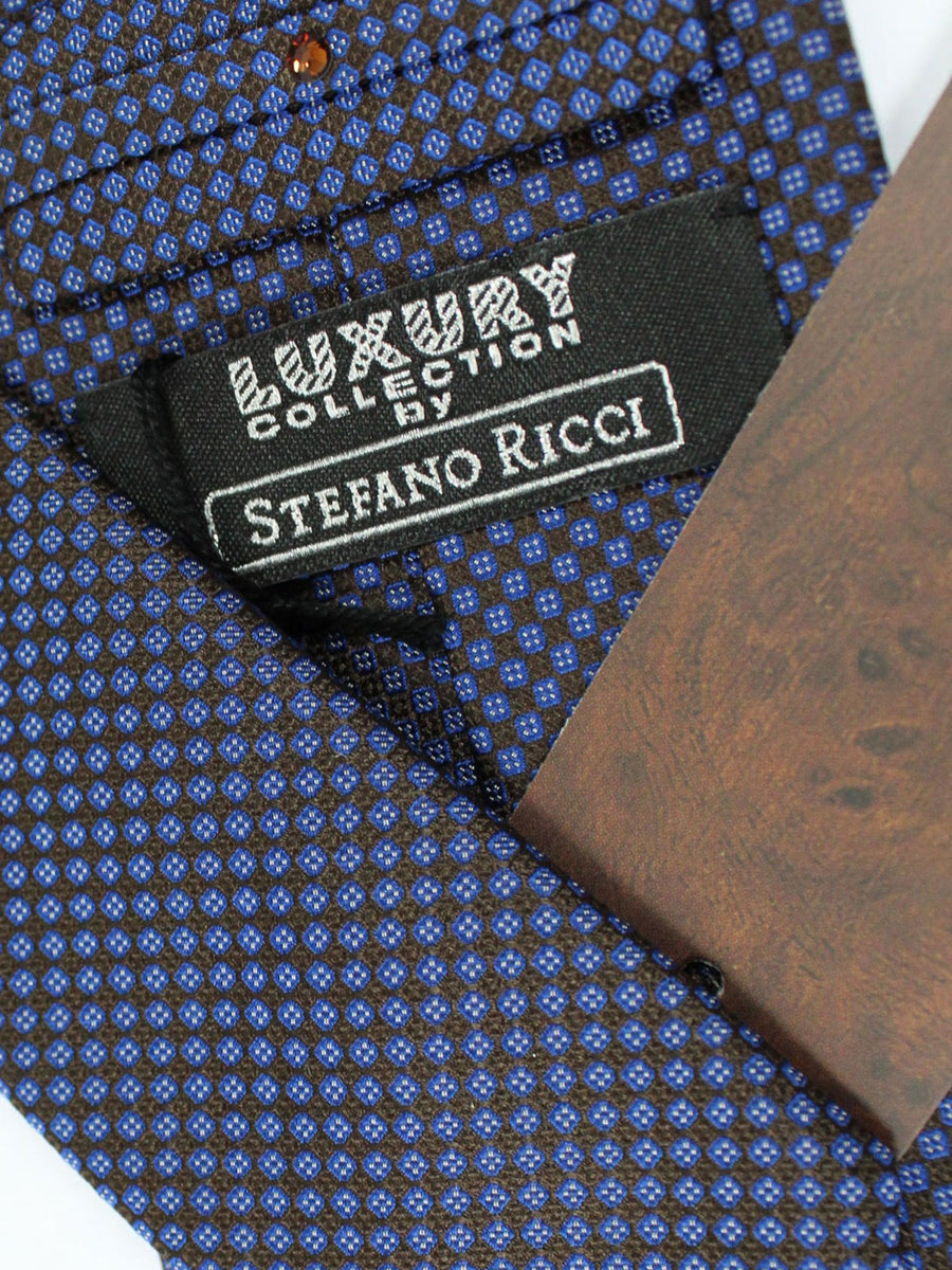 Stefano Ricci Tie Brown Purple Geometric - Wide Necktie
