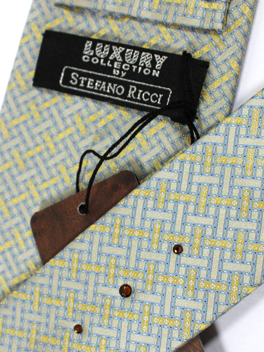 Stefano Ricci Tie Gray Yellow Gold Blue Geometric - Wide Necktie