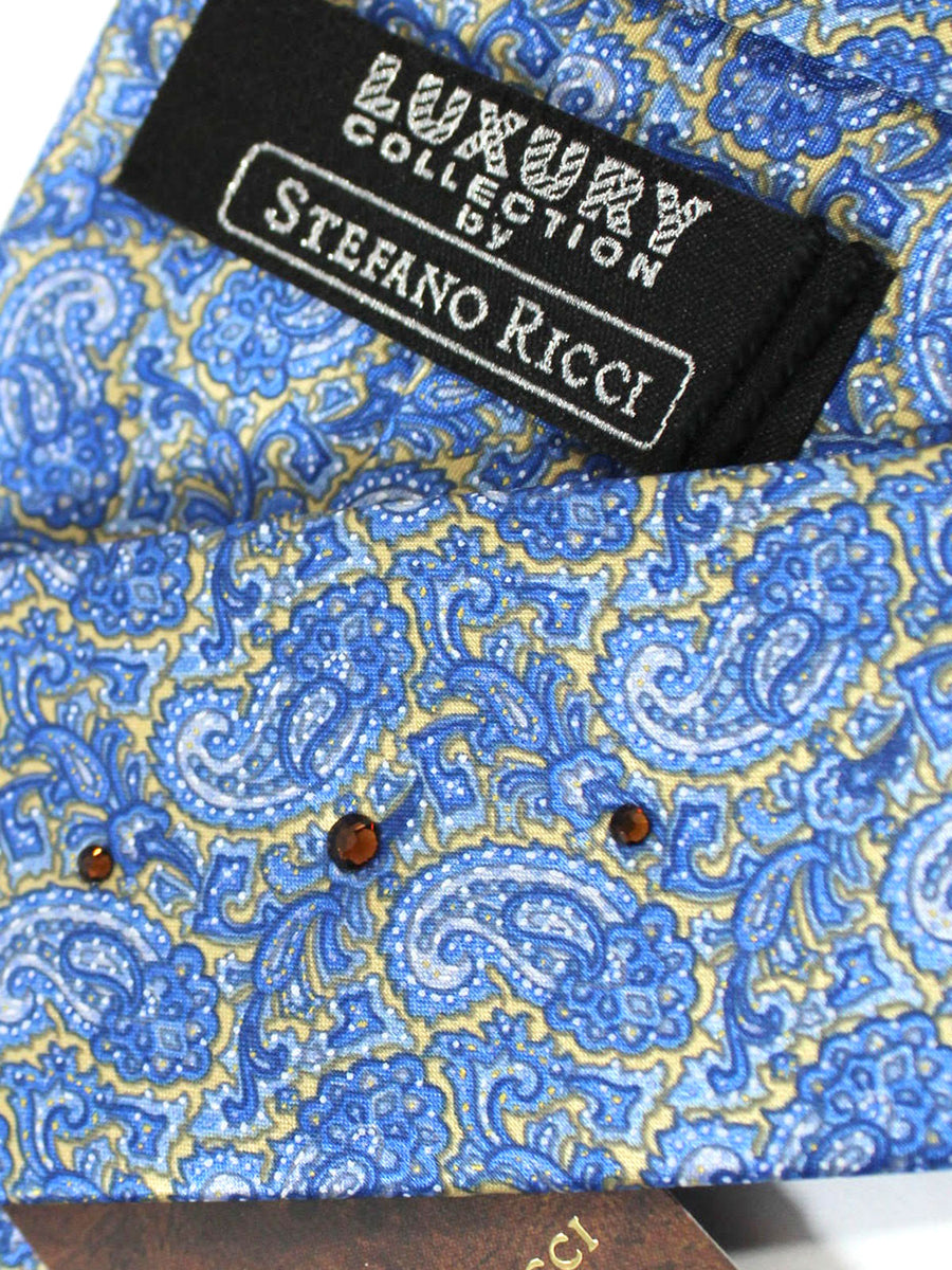 Stefano Ricci Tie Blue Yellow Gold Paisley - Wide Necktie