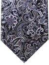 Stefano Ricci Silk Tie Black Gray Ornamental - Wide Necktie