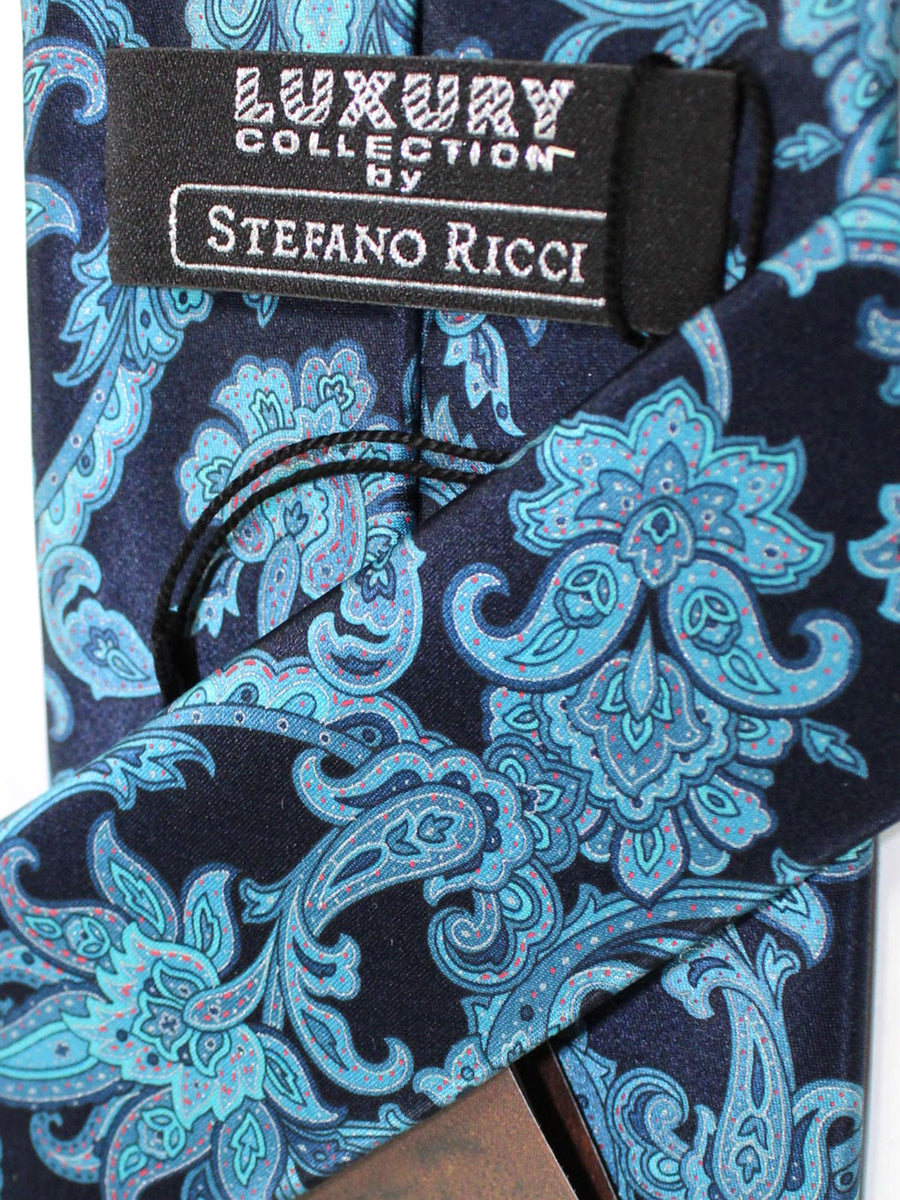 Stefano Ricci Silk Tie Dark Blue Aqua Ornamental - Wide Necktie
