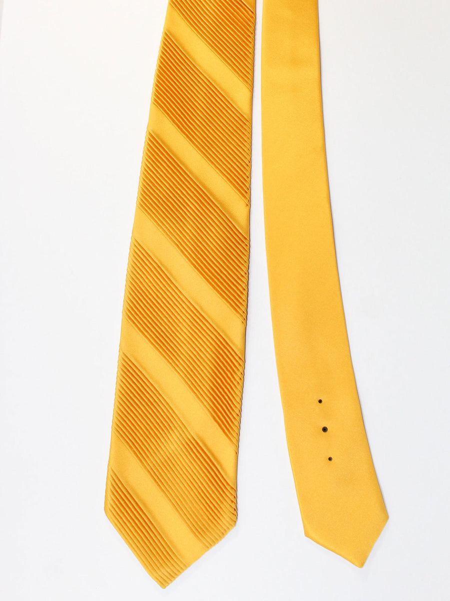 Stefano Ricci Pleated Silk Tie Yellow Solid Design